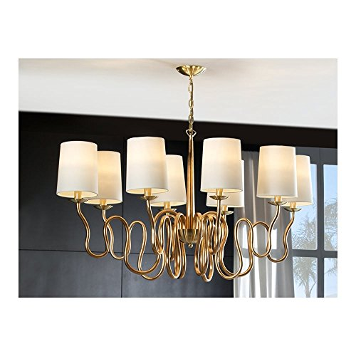 Schuller Spain 513814I4L Traditional Gold Hanging Ceiling Light Pendant shade pendant light brushed brass 8 Light Dining Room, Living Room LED | ideas4lighting by Schuller