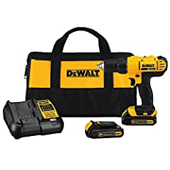 The DEWALT DCD771C2 20-Volt Max Lithium Ion compact drill driver has a lightweight design with a high performance motor that delivers 300 unit watts of power. The high speed transmission delivers 2 speeds 0-450 RPMs and 0-1500 RPMs. The ergon...