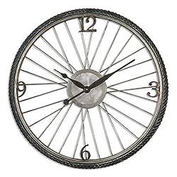 Zinc Decor Bicycle Tire & Spokes Wall Clock 26