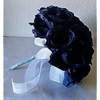 Navy Blue Rhinestone Rose Bridal Wedding Bouquet & Boutonniere