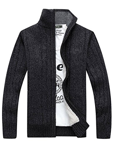 Tanming Men's Winter Thick Full Zip Sherpa Lined Knit Cardigan Sweater Jacket (Large, Grey) (Short Wool Jacket Zip)