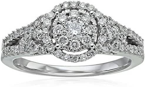 Round Composite Diamond Split Shank Ring in 14k White Gold Engagement Ring (3/4cttw, H-I Color, I1-I2 Clarity), Size 7