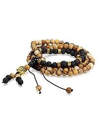 """Cupimatch Buddha Head Charm Lave Rock Roary Mala Bead Bracelet for Men Women, 29.3"""""""