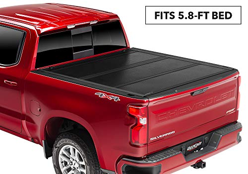 UnderCover Flex Hard Folding Truck Bed Tonneau Cover | FX11020 | fits 2019 Chevrolet Silverado/GMC Sierra 1500 5.8ft Short Bed (New Body Style) Crew/Ext (Best Folding Tonneau Cover For Silverado)
