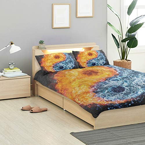 IDO Abstract Yin Yang Fire Water Kids Bedding Comforter Cover Sets Ultra Soft Crystal Velvet Cotton Satin Hotel Collection-Decorative 3 Piece Bedding Set with 2 Pillow Shams, Multicolor