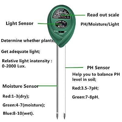Soil pH Meter, 3-in-1 Soil Test Kit for Moisture, Light & pH/Acidity, Gardening Tools for Home and Garden, Lawn, Farm, Plants, Indoor & Outdoor Plant Care Soil Tester