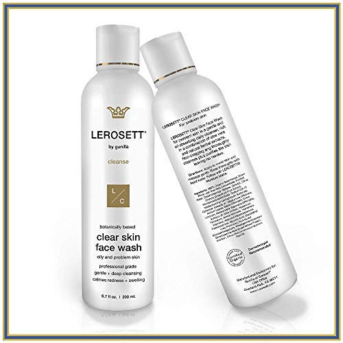 LEROSETT Clear Skin Face Wash 6.7oz | Healing Cleanser for Oily, Irritated, Sensitive Skin, Gentle, Non-Drying | 12-Herbal Extracts, 65% Healing Aloe, Pro-Vitamin | All Skin Types, Spa-Grade