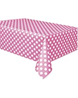 "Polka Dot Plastic Tablecloth, 108"" x 54"", Hot Pink"