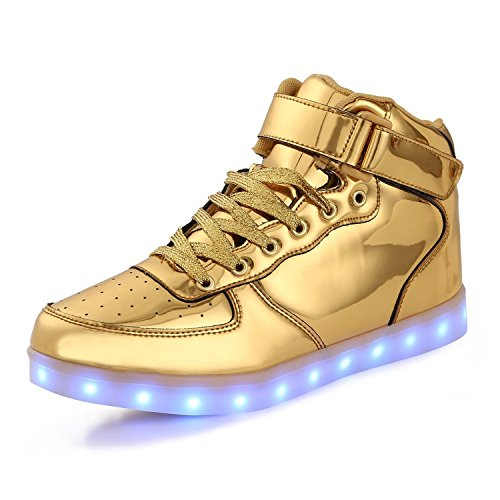 TUTUYU Kids 11 Colors LED Shoes High Top Fashion Sneakers For Halloween Golden 31