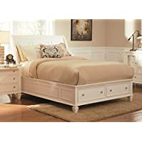 Coaster 201309KE Sandy Beach White E King Bed With Footboard Storage