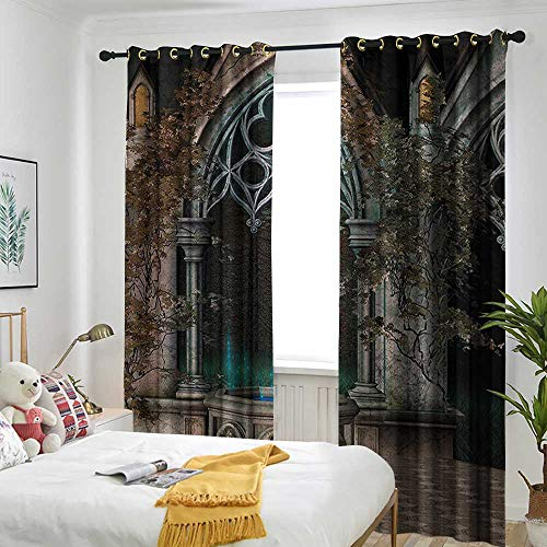 (Gothic House Decor Indoor/Outdoor Curtains Mystic Patio with Enchanted Wishing Well Ivy on Antique Gateway to Magical Forest Great for Living Rooms & Bedrooms 120