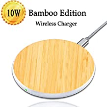 [2018 New] Fast Wireless Charger, Synmila 10W Bamboo Qi Universal Wireless Charging Tablet Ultra Slim Charging Pad, Fast-Charging for iPhone X, iPhone 8/8 Plus, Galaxy S9/S9+/S8/S8+/S7/Note8