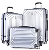 Luggage Sets,COOFIT 3 Pieces Carry On Luggage Sets Lightweight Matching Suitcase Sets(20'' 24'' 28'') for Travel Silver