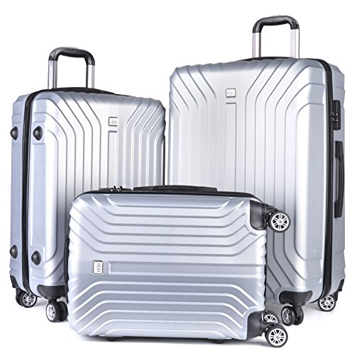 Luggage Sets,COOFIT 3 Pieces Carry On Luggage Sets Lightweight Matching Suitcase Sets(20'' 24'' 28'') for Travel Silver by COOFIT