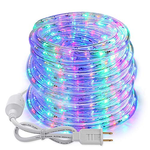 Brizled LED Rope Lights Outdoor,18ft 216 LED Tube Lights, 120V UL Flexible Strip Lights Connectable Plugin Rope Lights for Easter, Garden, Patio, Party, Xmas, Holiday Decorations, Multi Color
