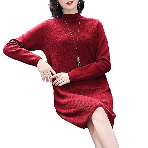 Shirloy line Sweater Rosso Temperament Caldo Long Maglione Dress Women's sleeved Slim Vino Bottoming A zqr1z0