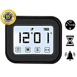 Kitchen Timer Digital Alarm Clock LCD Touchscreen Magnetic Backing Come with Night light 2 Modes Mute / Ring, Black (1)