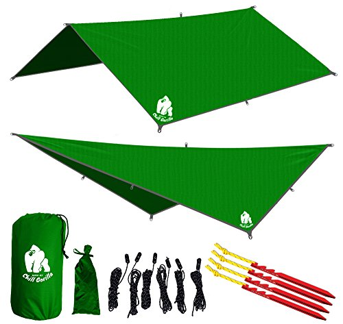Chill Gorilla 10 Hammock Rain Fly Tent Tarp Waterproof Camping Shelter  Lightweight Ripstop Nylon   Not Cheap Polyester  Stakes Included  Survival Gear  Backpacking Camping Eno Accessory  Green
