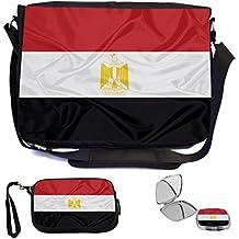 Rikki Knight Egypt Flag Design COMBO Multifunction Messenger Laptop Bag - with padded insert for School or Work - includes Wristlet & Mirror