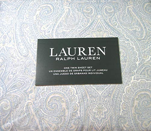 Lauren 3 Piece Twin Size Paisley Sheet Set Blue and White 100% Cotton