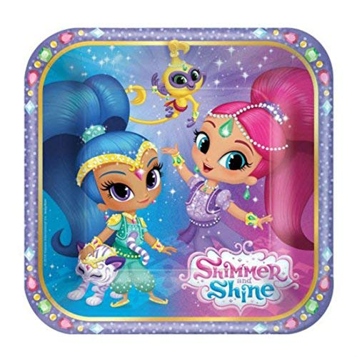 8 SMALL PAPER PLATES Cake Dessert SHIMMER AND SHINE from Unbranded