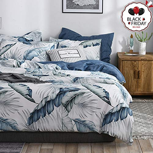 VCLIFE Tropical Leaves Bedding Cover Sets, Queen Full Cotton Navy Blue White Bedding Sets for Kid Boy Girl - 1 Duvet Cover with 2 Pillowcases