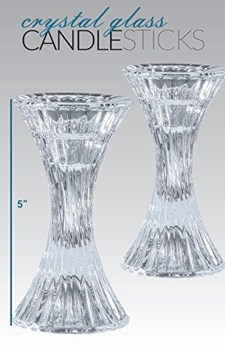 Round Base Crystal Candlesticks - 2 Pack Set - Pair of 5 Inch Pinched Fluted Cylinder Design Candle Holders - by Ner Mitzvah by Ner Mitzvah (Image #2)