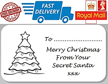 48 x secret santa christmas labels stickers gift tags office secret