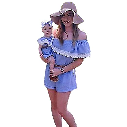 72393a7e27 Yoyorule Family Clothes Mommy and Me Off Shoulder Lace Jumpsuit Romper Belt  Outfits (2 Years