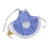 princess cooking apron - Princess Blue White Dot Bow Frill Adjustable Kid Cotton Apron