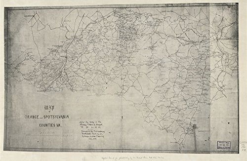 Vintage 1860 Map of Map of Orange and Spotsylvania counties, Va. - Shows names of some residents. - Relief shown by hachures. -