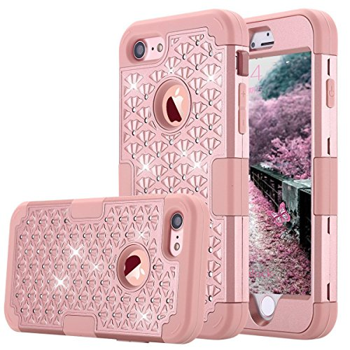 ZAOX-iPhone-7-Case-ZAOX-Hybrid-Heavy-Duty-Shockproof-Diamond-Studded-Bling-Rhinestone-Case-with-Dual-Layer-Hard-Pc-Plus-Soft-Silicone-Impact-Protection