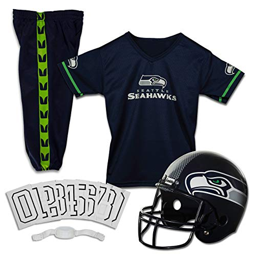Franklin Sports Deluxe NFL-Style Youth Uniform - NFL Kids Helmet, Jersey, Pants, Chinstrap and Iron on Numbers Included - Football Costume for Boys and Girls (Renewed)]()