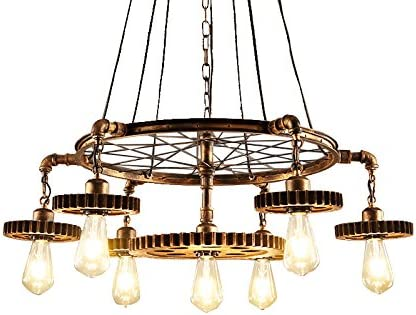 JinYuZe 7 Lights Industrial Ceiling Pendant Light,Retro Loft Metal Large Chandelier Pendant Lighting,Antique Brass