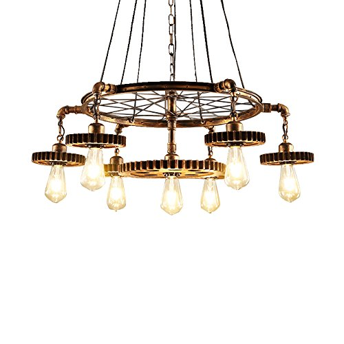 Cheap JinYuZe Grand Retro Loft 7 Edison Chandelier Pendant Light, Rustic in Antique Brass, Water Pipe and Gear Wheels Combo