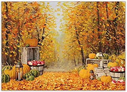 Zhy 5X7FT Autumn Thanksgiving Backdrop for Photography Orange Pumpkin Haystack Maple Forest Bright Firefly Retro Brick Wall Background for Home Party Decor Banner Art Portrait