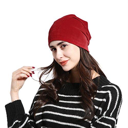 JOOWEN Women's Velvet Plain Slouch Beanie Hat - Chill No Hat