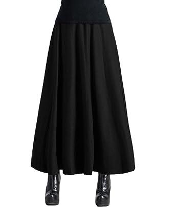 446e69b75b Femirah Women's Wool Blend Long Maxi Skirt High Waisted Big Hem Skirt  (Large(Waist