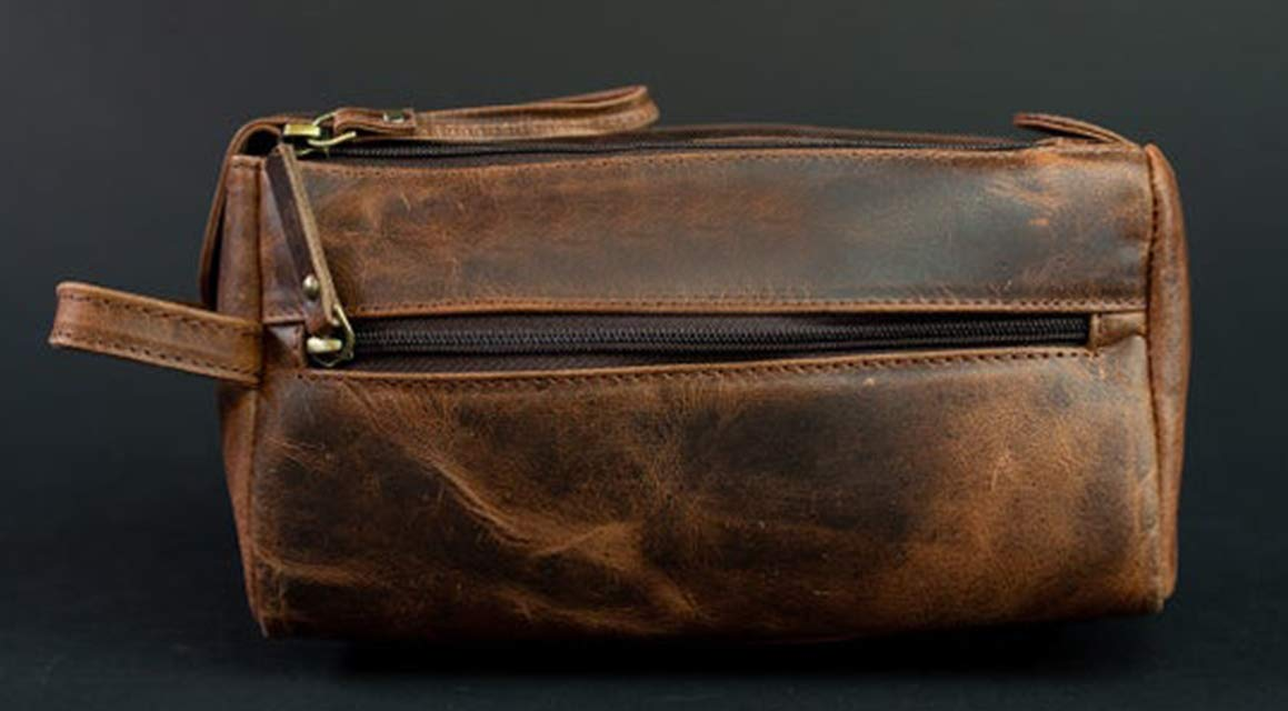 RK Handmade Hanging Genuine Leather Cosmetic Pouch Toiletry Bag for Men and Women