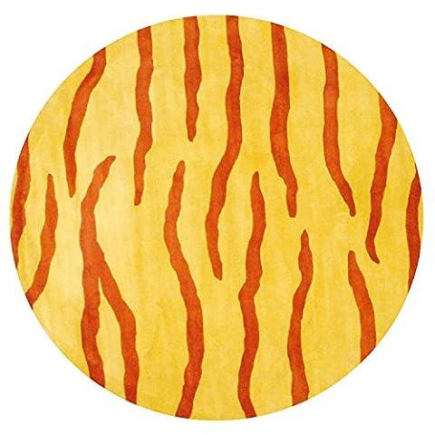 Herat Oriental Indo Hand-Tufted Zebra Stripe Wool Rug, 8' x 8', Yellow/Rust - Tufted Zebra Rug