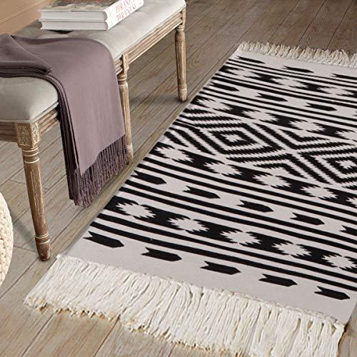Cotton Printed Area Rug, Seavish Decorative Hand Woven Runner Carpet, Black White Nordic Geometric Fringe Kilim Rugs Throw Rug 2' x 4'4