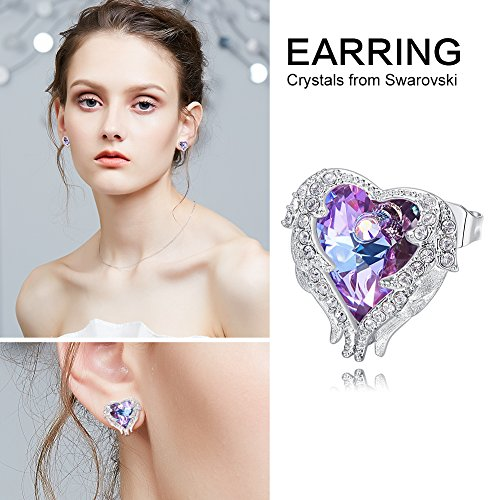 67b224a85 CDE Angel Wing Swarovski Earrings Women Silver Plated Studs Ear Ring  Crystal Heart Ocean Jewelry Gifts - KAUF.COM is exciting!