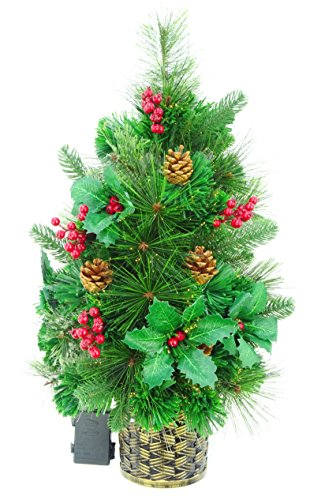Christmas Concepts 2ft (60cm) Green Fibre Optic Pine Wall Mounted Christmas Tree With Cones And Red Berries (Optic Tree Fibre Christmas 2ft)