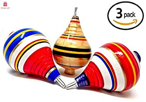 NEW Alondra's Imports (TM) Premium-Grade Classic Trompo Spin Tops from Mexico (Trompos De Mexico De Madera, Trompos Juguetes De Madera, Trompos Mexicanos) - Assorted Set of 3