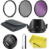 BRENDAZ 52mm UV CPL FLD Lens Filter & Lens Hood Kit w Lens Cap, Cap Keeper, Pouch Cloth for NIKON D3300 D3200 D3100 D7000 D7100 DSLR Camera and all other Lenses with 52mm thread