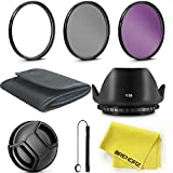 BRENDAZ 52mm UV CPL FLD Lens Filter & Lens Hood Kit w Lens Cap, Cap Keeper, Pouch Cloth for NIKON D3300 D3200 D3100 D7000 D7100 DSLR Camera and all other Lenses with 52mm thread