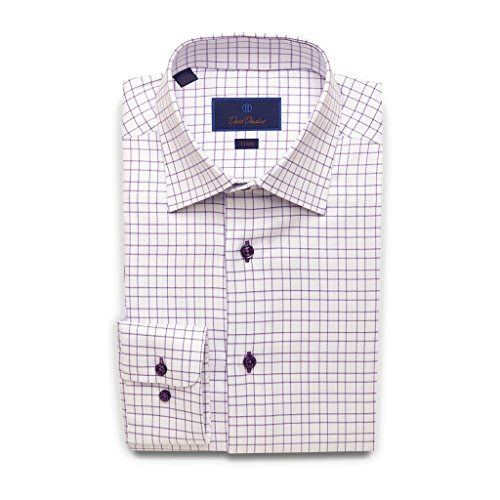 David Donahue Trim Fit Open Check With Surprise Twill Dress Shirt 16.5'' Neck 36/37'' Sleeve Lilac by David Donahue