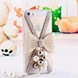 iPhone 6 Case, Hundromi(TM) 3D Bling Crystal Diamond Pearl Mouse Design Diamond Case Cover for iPhone 6 4.7 inch Screen - Crystal Clear iPhone 6 Case (BOW)