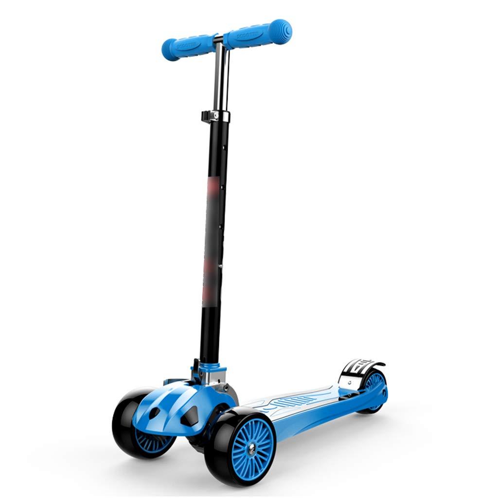 Scooter para niños bebé Scooter de Tres Ruedas Scooter para Principiantes niños y niñas para niños de 2-14 años de Edad, Opcional (Color : Blue)