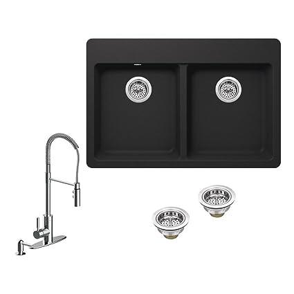 Amazon.com: IPT Sink Company All-in-One Drop-in Granite Composite 33 ...